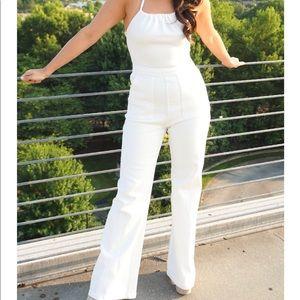 NWT S white denim jumpsuit